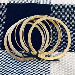 Ralph Lauren 7pc Hammered Gold Bangle Bracelet Set